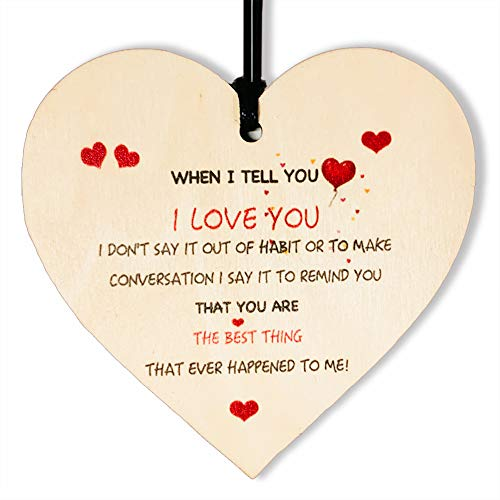 I Love You Gifts for Him Her Boyfriend You Are The Best Thing Handmade Wooden I Miss You Love Gifts for Her Him Perfect Hanging Heart Plaque Sign Gift