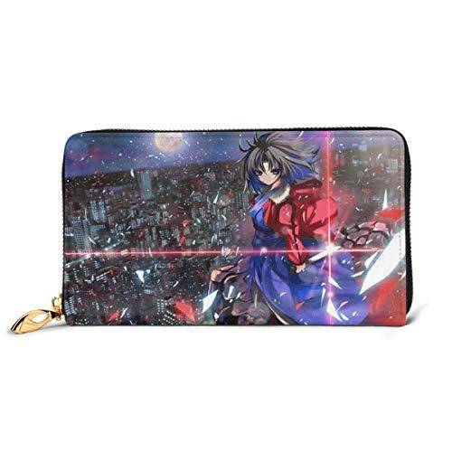 XCNGG Kara No Kyoukai Brieftasche Blocking Echtes Leder Brieftaschen Double Zip Wallet Organizer Clutch Bag Kreditkartenhalter Große Kapazität Geldbörse Handytasche Für Männer Frauen