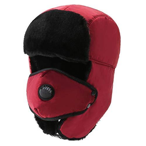 CUCUDAI Chapéu masculino e feminino de inverno quente para ciclismo ao ar livre à prova de vento forrado russo neve ski Ushanka chapéu com abas de orelha, máscara vermelha
