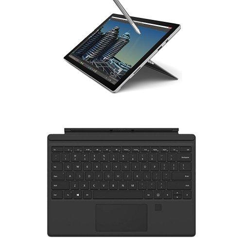 Microsoft Surface Pro 4 Tablet, Processore i5, HDD da 256GB, RAM 8GB, Nero + Cover con Lettore per Impronte Digitali