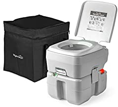 Alpcour Portable Toilet – Compact Indoor & Outdoor Commode w/Travel Bag for Camping, RV, Boat & More – Piston Pump Flush, 5.3 Gallon Waste Tank, Built-in Pour Spout for Easy Cleaning
