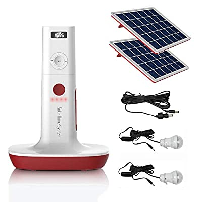 UPEOR Solar Generator Lighting System Portable Solar Power Generator Kit for Emergency Power Supply,Home & Outdoor Camping,Including MP3&FM Radio,Solar Panel,3 Sets LED Lights (Pink)