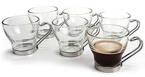 Fitting Gifts Bistro Collection Tasses à Espresso en Verre avec Anses en Acier Inoxydable 10cl (Lot de 6)