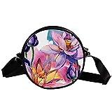 Bolso cruzado redondo pequeño para mujer, de moda, bandolera, bolso de lona, para mujer, diseño de flores de acuarela