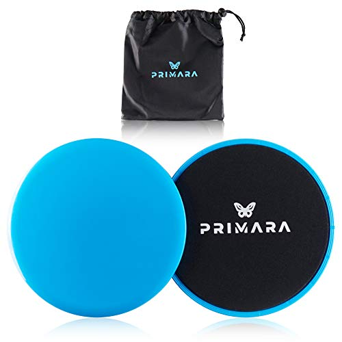 Primara Core Sliders – 2 Pack Dual Sided Exercise Sliders Fitness Discs for Abdominal Back Hip & Leg Exercises - Ab Gliders with Carrying Bag & Manual – Full Body Workout Equipment for Home Gym