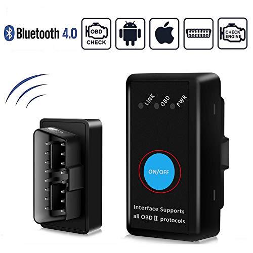 GeekerChip Auto Strumenti Diagnostici Bluetooth per OBD2,Forte Compatibilità-Collegare Via Bluetooth 4.0-Compatibile con iOS, Android,Windows & Symbian per Maggior Parte Auto Auto