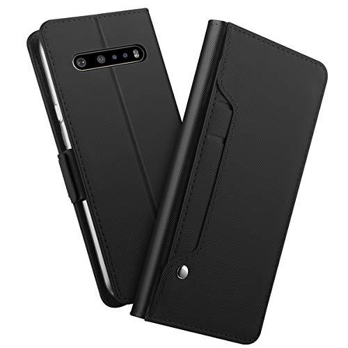 futypei für LG V60 ThinQ 5G Hülle, Slim Leder Flip Hülle [Stoßfest] [Kartensteckplatz] Magnetisch Ledertasche Handyhülle Schutzhülle Tasche Brieftasche Etui für LG V60 ThinQ 5G Schwarz