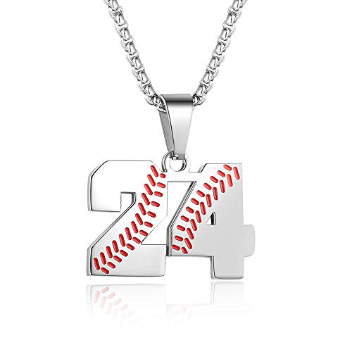 TLIWWF Inspiration Baseball Jersey Number Necklace Stainless Steel Charms Number Pendant for Boys Men (24)