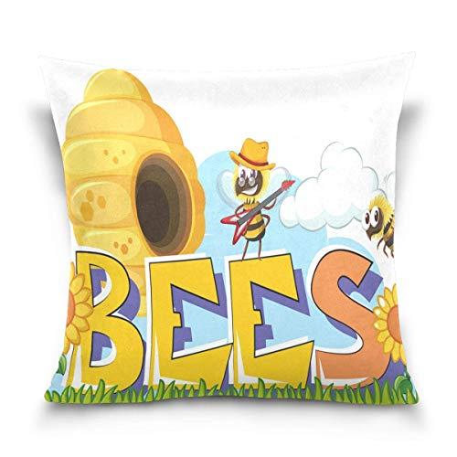 SSHELEY Bee Bijenkorf Zonnebloem Zachte Fluwelen Kussenslopen Kussensloop Dubbelzijdige Print Protectors Thuis Kussen Auto Reizen Vliegtuig
