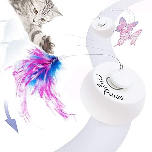 Price comparison product image Migipaws cat Toys,  Interactive Cat Toy for Indoor Cats,  Automatic Cat Feather Toys,  Pets Smart Electric Cat Teaser,  Rolling Ball with Moving Feather, Flying Butterfly Refills 3 in 1 Kitten Teaser Toy