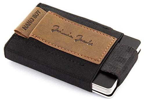 JAIMIE JACOBS Nano Boy VEGAN Mini Geldbörse aus Textil, Veganer Mini Wallet, Kleiner Veganer Geldbeutel, Mini-Portemonnaie für Herren 100% vegan (Braun)