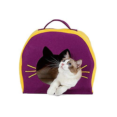 Comfortabele Huisdieren Bed Pet Warmer Hond Kat Bed Huis Natuursteen vilt doek Cat House Cat Tent Yurt Winter Washable Leuke kattenbakvulling Huisdieren benodigdheden (Color : Purple)