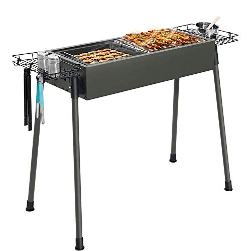 WFFF Charcoal Grill, Barbecue Grill, Folding Portable Charcoal Barbecue Table, Camping Grill Stove, Garden Outdoor Activities, Non-stick Movable Plate, Barbecue Tool Set