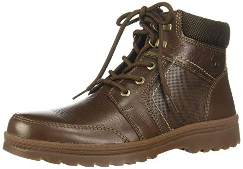 Price comparison product image Flexi Mens Brown Leather Combat Boots - for Hiking,  Working,  Bikers and Snow with Non Slip Thick Deep Rubber Tread / 50704 (11.5,  Chocolate)