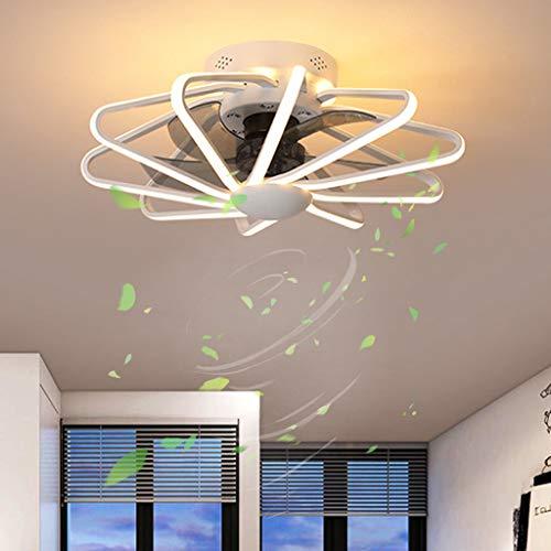 Lámpara de ventilador Ventilador de techo moderno para sala de estar con iluminación y control remoto reversible Ventilador de techo regulable con LED silencioso 6 velocidades