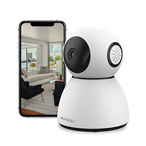 Nikkei CAM4 - Überwachungskamera - Drehbare 360 Full HD Kamera mit WIFI, Bewegungerkennung und Nachtsicht - WLAN IP Kamera - Haustierkamera und Babyphone- - für iOS/Android