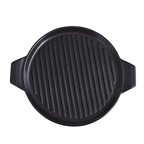 KVV Stoneware BBQ Grill Pans,Ceramics Charcoal grills Dishes with Handle,Round baking Plates,Fireproof bakeware 15 X 12.2 inch, Outdoor Party,Ceramic Sizzling Plate for Steak (Black BBQ Pan)