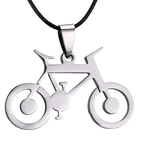 ZUOZUO Leder Halskette Herren Schmuck Silber Fahrrad Anhänger Halskette Edelstahl Leder Kette Herren Halskette Anhänger Geschenk