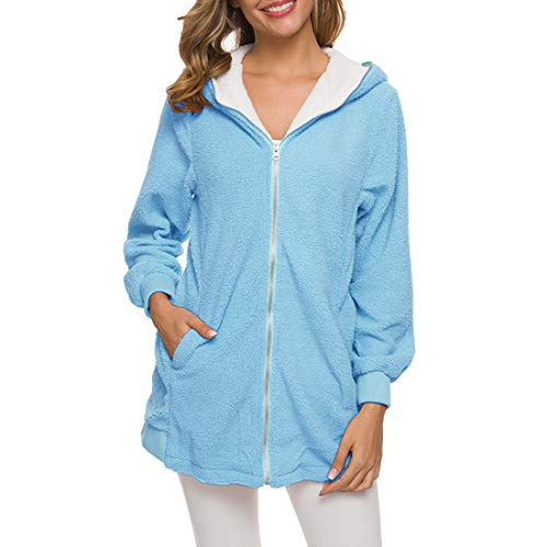 Coat Women Elegant Warm Tops Hooded Long-Sleeved Outwear Loose Solid Color Fleece Soft Comfortable Zip with Side Pockets Coat Hoodie Cardigan Holiday All-Match Jacket Women 4XL