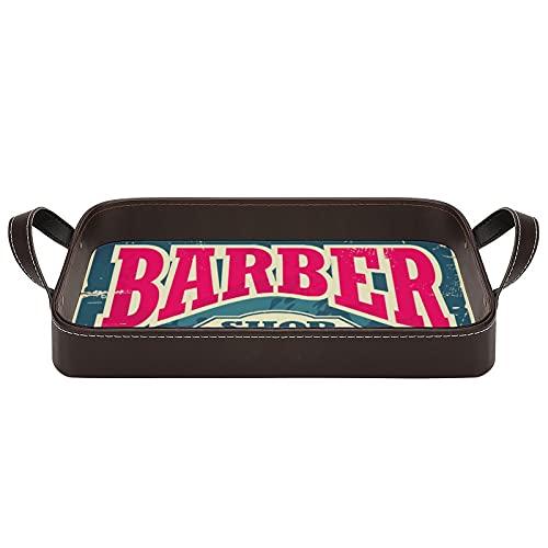 bandeja de cuero,bandeja de tocador decorativa,Barber Shop Hipster corte de pelo y afeitado Vintage Sign,Bandeja de utilidad Oficina en casa Viaje Café Ba