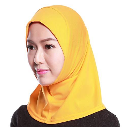 S-TROUBLE Womens muslimischen Baumwolle Mini Hijab Kopftuch Volltonfarbe Full Cover Innenkappe islamischen arabischen Wrap Schal Turban Hut Kopfbedeckungen