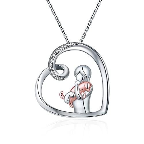 Kkoqmw Collar de Perro de Plata de Ley 925, Collar con Colgante de corazón Animal Encantador, joyería para Mujer, Amante de Las Mascotas