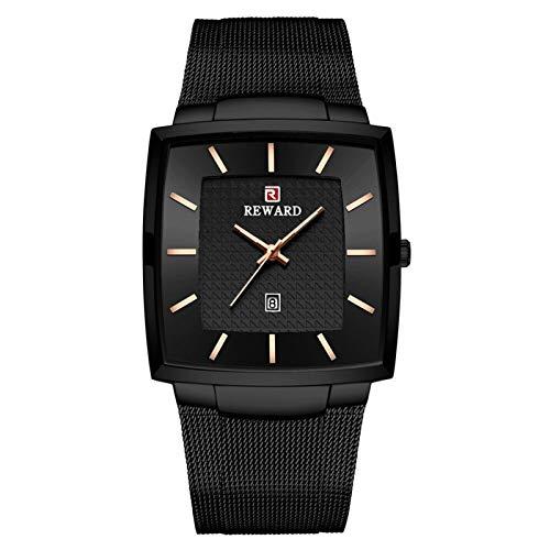 JISHIYU Reloj de Cuarzo Top Lujo de la Marca de los Hombres Relojes de Oro de Acero Inoxidable de los Hombres de Negocios a Prueba de Agua Fecha de Pulsera (Color : Black Box)