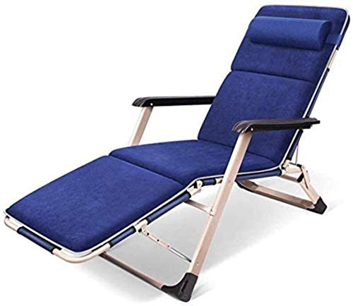 GBLight Sun Lounger Adjustable Chaise Longue Chaise, with headrest Armrest Sunbed Zero Gravity Chair Reclining sunbed Back Bed Garden Chair Garden Patio Camping (Color : Blue)