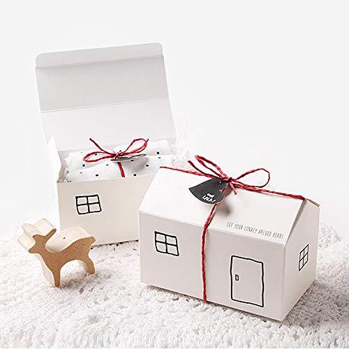 Geschenkdoos BLTLYX 50st Wit Kraft Huis Papier Snoep Chocolade Geschenkdoos Met String Tag Bruiloft Verjaardagsfeestje Gunsten Verpakkingsdozen 6 * 11.3 * 6.5cm Wit