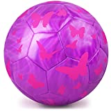 Kids Soccer Ball, PP Picador Sparkling Soccer Ball Birthday Toys Ball with Pump for Kids, Toddlers, Children, Boys, Girls, School, Kindergarten, Student, Baby (Purple)