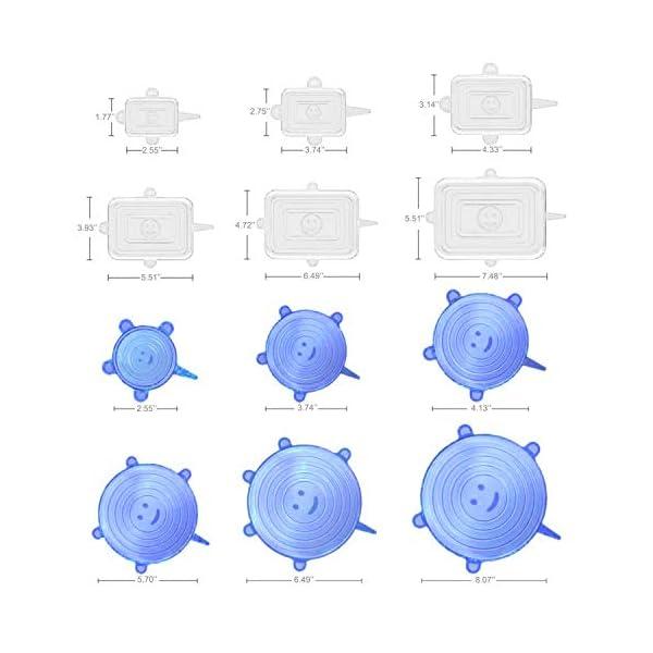 CJCX Coperchi in Silicone, 12 Pezzi Coperchi in Silicone Estensibile Stretch per Alimenti, Riutilizzabile e Duraturo, Rettangolari & Rotondi per Vari Contenitori, Piatti, Scodelle, Tazza (Bianco+Blu) 2 spesavip