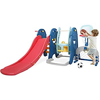 BAHOM 6 in 1 Slide and Swing Set for Kids Toddler Climber and Swing Set with Basketball Hoops Football Goal Ring Toss Game for Boys Girls Playset for Indoor Outdoor