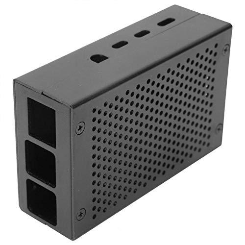 BWLZSP Schwarzes Gehäuse für Wärmeableitungsgehäuse Schutzgehäuse Metallgehäuse mit hohlem Schutzgehäuse aus Aluminiumlegierung für Himbeer-Pi 4