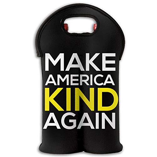 90ioup Make America Kind Again Wein-Reisetasche für 2 Flaschen, Polyester, weiß, Einheitsgröße