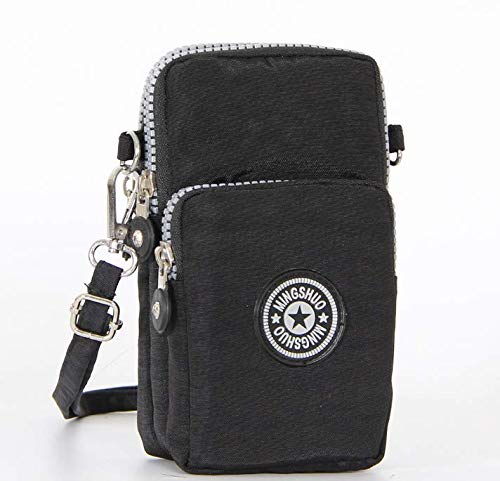 Canvas Fabric Cellphone Mini Crossbody Bag Carrying Pouch Wallet Purse for Samsung Galaxy Note 9 / S9 Plus / J8 / A8 / iPhone X/iPhone 8 Plus/OnePlus 6 / Alcatel 7 / 5V / Nokia 6.1 Plus (Black)