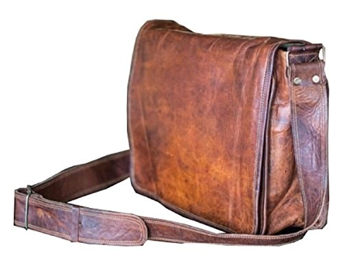 13 Inch Leather Full Flap Messenger Handmade Bag Laptop Bag Satchel Bag Padded Messenger Bag School Brown (13X10)