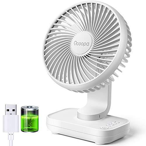OCOOPA USB Ventilator Ultra Leise - 4000mAh Tischventilator, 4 Geschwindigkeiten, Mini Ventilator für den Schreibtisch, Zuhause und Büro, weiß