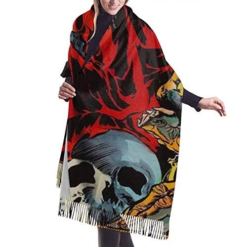 Nifdhkw Demon Monster Mural bufanda de invierno Pashmina chales abrigos para mujer vestido de noche dama de honor boda