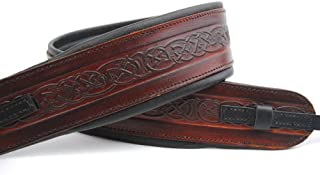 UK Made Celtic Brown Leather Padded Cradle Banjo Strap