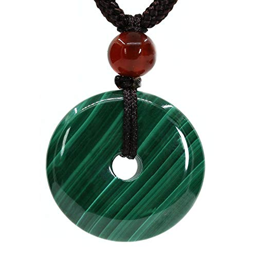 Natural Gemstones AA Grade Malachite Peace Donut 20M Beads Adjustable Braided Macrame Tassels Pendant Unisex