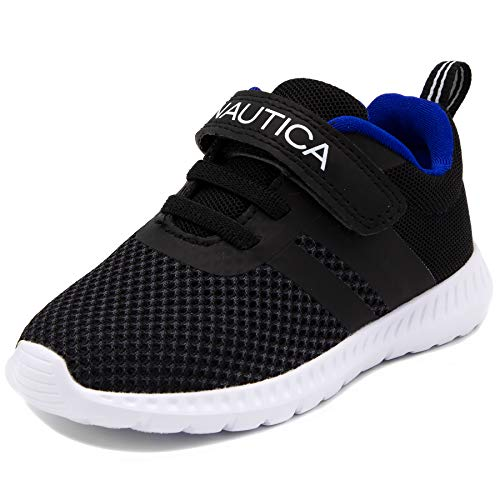 Nautica Kids Boys Fashion Sneaker Athletic Running Shoe with Stap for Toddler and Little Kids-Towhee-Black-10