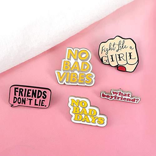 tajia Esmalte Pin Feminista Girl Power Stranger Things No Bad Vibes Insignia Broche Pin de Solapa Jeans Camisa Bolsa Regalo de joyería de Dibujos Animados