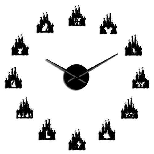 Princesa Castle Quartz Acrílico Espejo Papel Autoadhesivo Diy3D Reloj De Pared Reloj Decoración De La Pared De La Habitación De Los Niños Zar Girl Gift Negro-37 Pulgadas