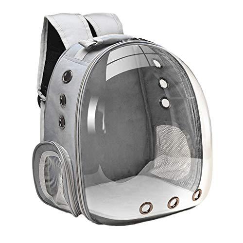 perfk Mochila de Burbujas Duradera para Mascotas, Transparente para Mascotas, Transpirable, de Viaje, para Perros Pequeños, Gatos, con 3 Paneles de Malla TR - Grey