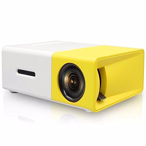 Mini tragbarer 1080P LED-Projektor Heimkino im Freien mit PC Laptop USB / SD / AV / HDMI-Eingangstaschenprojektor für Video-TV-Filmparty-Spiel Home Entertainment Beamer (Gelb)