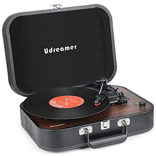 Tocadiscos Maleta Reproductor de Vinilo con Bluetooth Tocadiscos con Altavoces Reproductor de Discos de Vinilo portátil USB de 3 velocidades Reproductor de fonógrafo LP con Correa (Negro) (Negro)