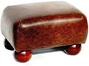 Footstools2u Lujo pequeños reposapiés de Piel sintética con Patas de Madera Oscura, Piel sintética, marrón, 330mmx230mmx200mm