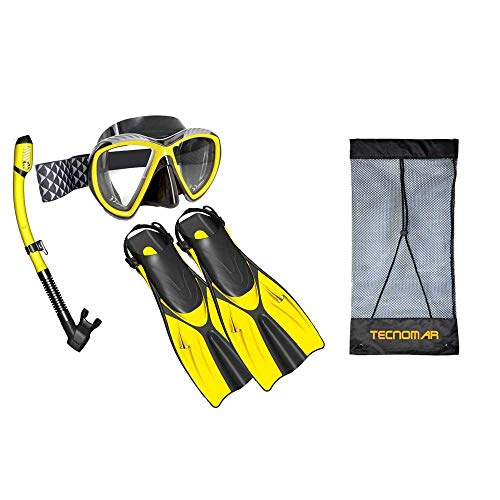 DuckyPKVAR Set zwemvliezen mascara snorkel met ducky zak S/M 38/41 Geel / zwart