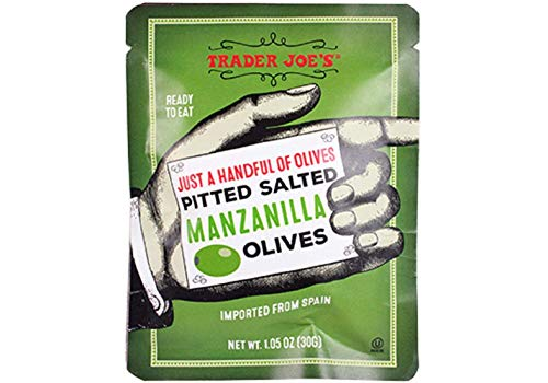Trader Joe's Just a Handful of Pitted Salted Manzanilla Olives (4-pack), 1.05 oz each
