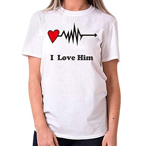 Dasongff King Queen T-shirt voor een paar partner-look, velentiendag, cadeau, toppaar, met opdruk Medium wit